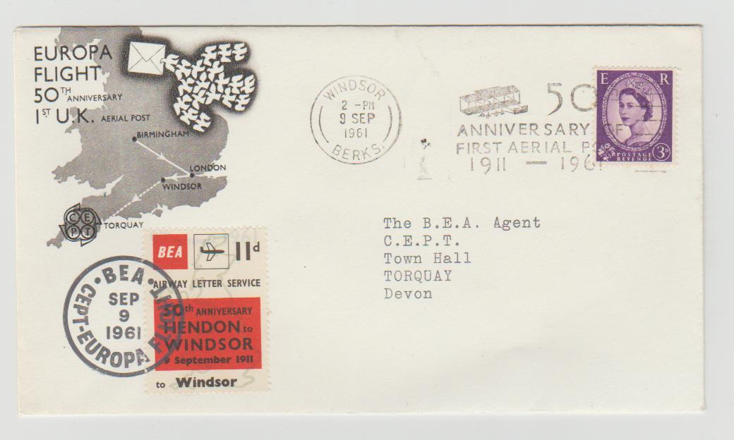 50th ANNIVERSARY OF THE FIRST AERIAL FLIGHT HENDON TO WINDSOR 1961