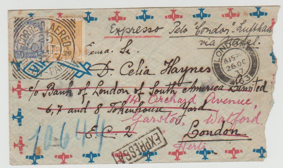 BRAZIL EXPRESS AIRMAIL TO LONDON 1937