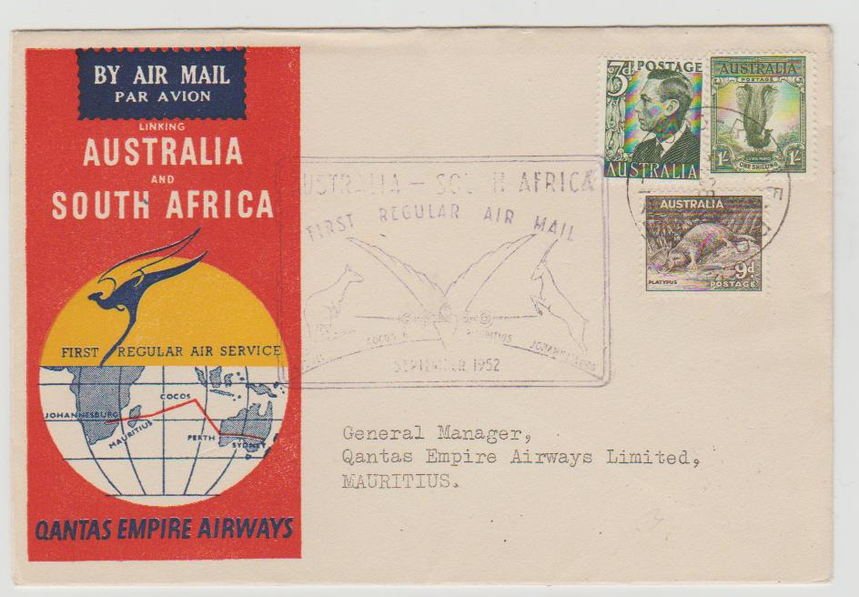 FIRST FLIGHT AUSTRALIA TO SOUTH AFRICA