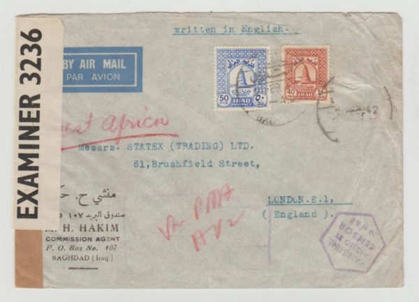 IRAQ AIRMAIL ENVELOPE TO UK 1942 CENSORED