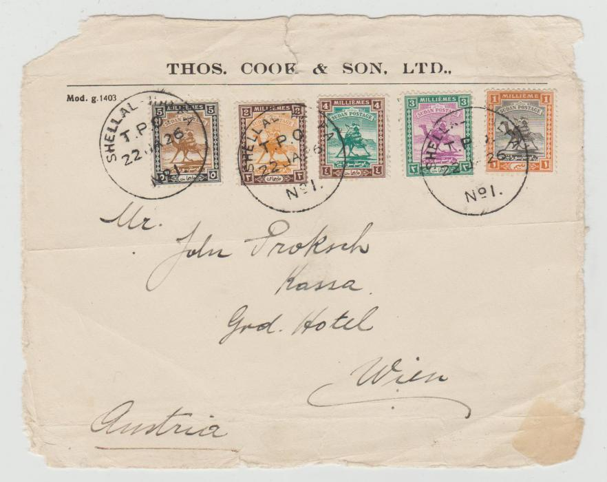 SUDAN SMALL CAMELS ON THOS COOK ENVELOPE WITH TPO CANCELS 1922