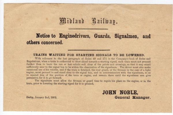 GB: 1882 MIDLAND RAILWAY NOTICE TO ENGINE DRIVERS.
