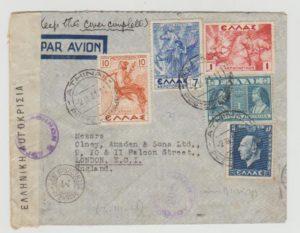 GREECE CENSORED COVER TO ENGLAND 1943