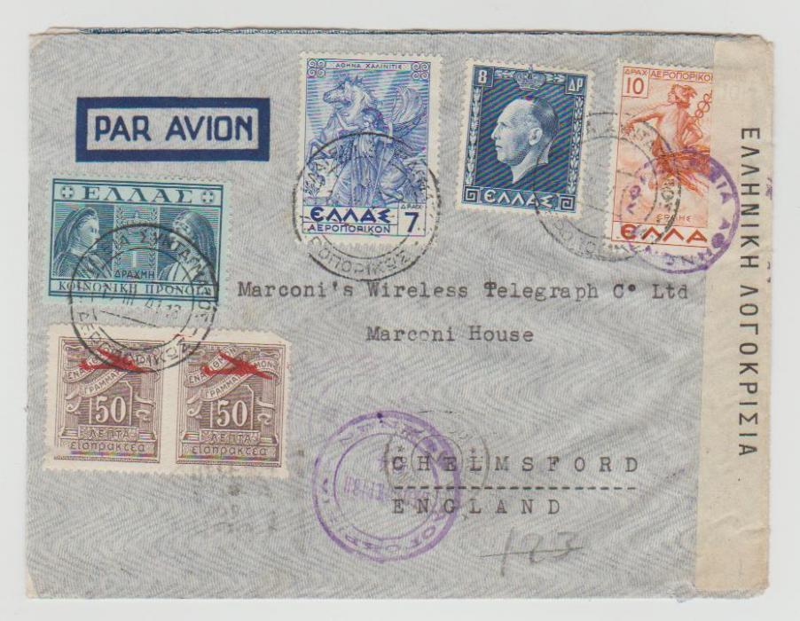 GREECE CENSORED COVER TO ENGLAND 1941