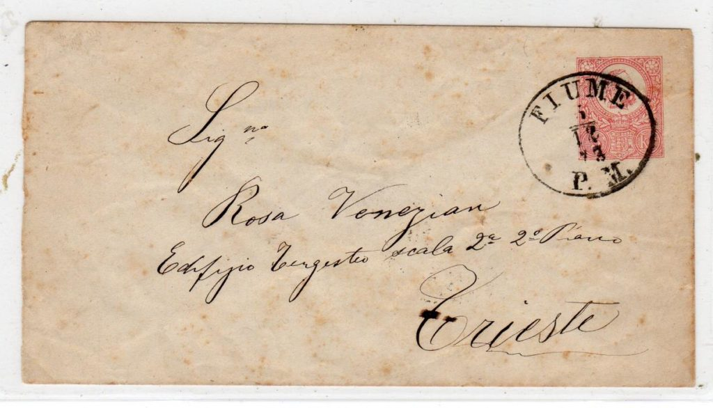 HUNGARY: 1873 POSTAL STATIONERY TO TRIESTE WITH FIUME POSTMARK.