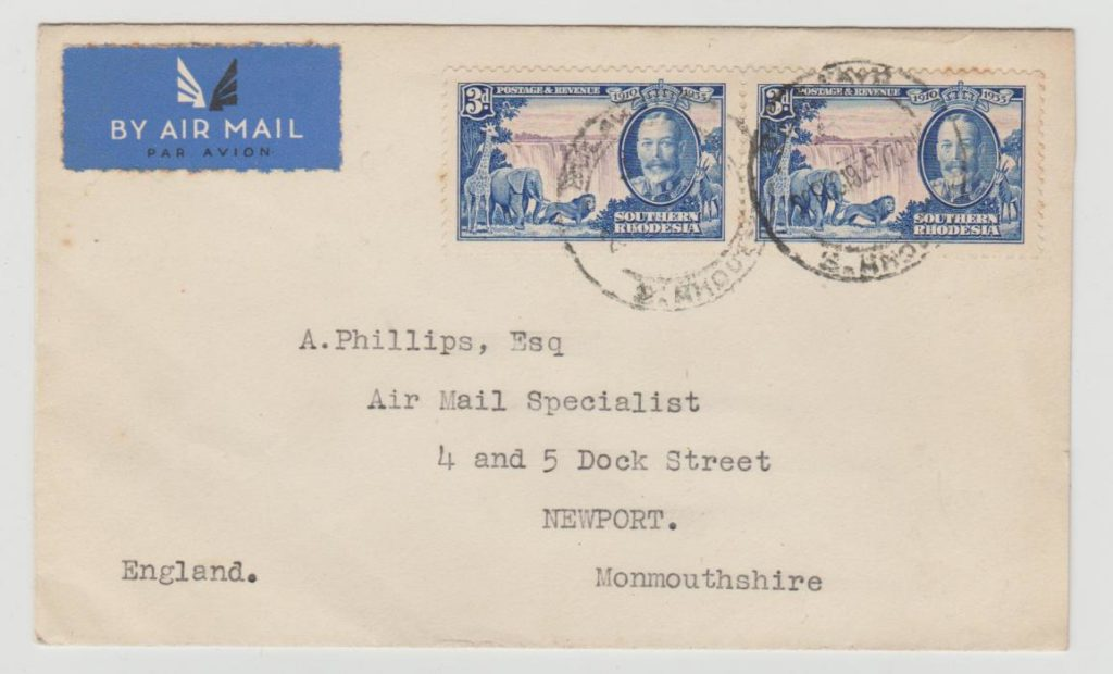 SOUTHERN RHODESIA REGISTERED ENVELOPE 1935