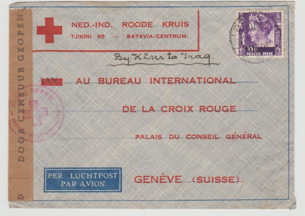 DUTCH EAST INDIES CENSORED RED CROSS ENVELOPE 1940