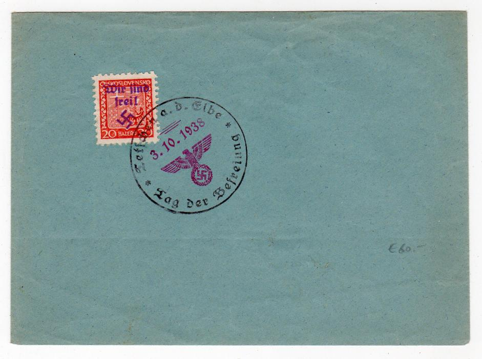 SUDETENLAND: 1938 COVER WITH OVERPRINTED STAMP.