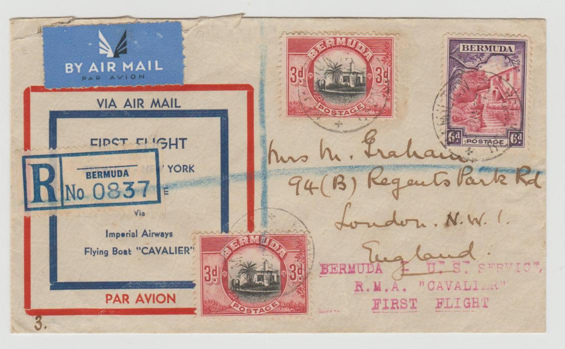 BERMUDA FIRST FLIGHT TO USA BY IMPERIAL AIRWAYS FLYING BOAT 1937