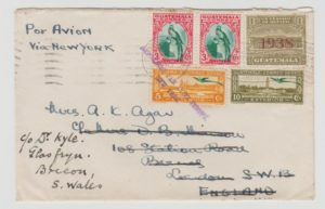 GUATEMALA AIRMAIL TO LONDON VIA NEW YORK WITH OBLIGATORY TAX 1938