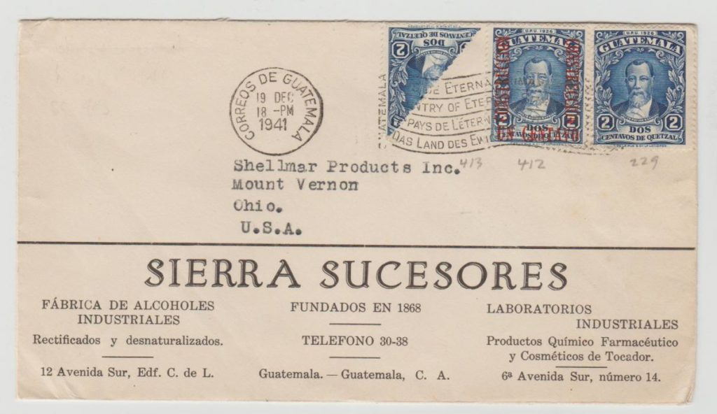GUATEMALA ADVERTISING ENVELOPE TO CHICAGO WITH USE OF BISECT 1941