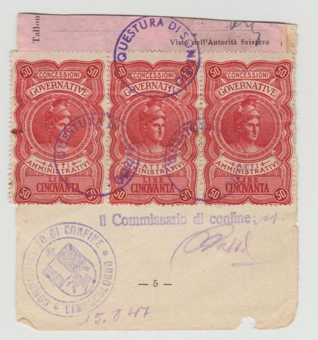 SWITZERLAND FISCALS ON PASSPORT VISA 1947-8