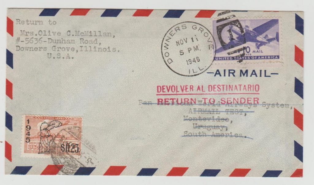 USA AIRMAIL TO MONTIVIDEO