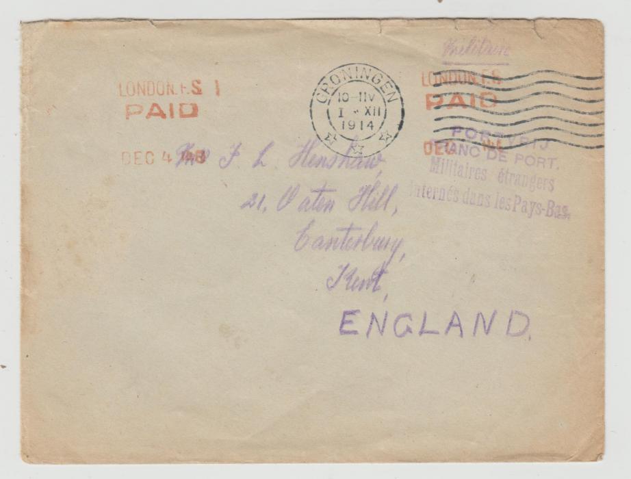 BRITISH SAILOR INTERNED IN HOLLAND 1914