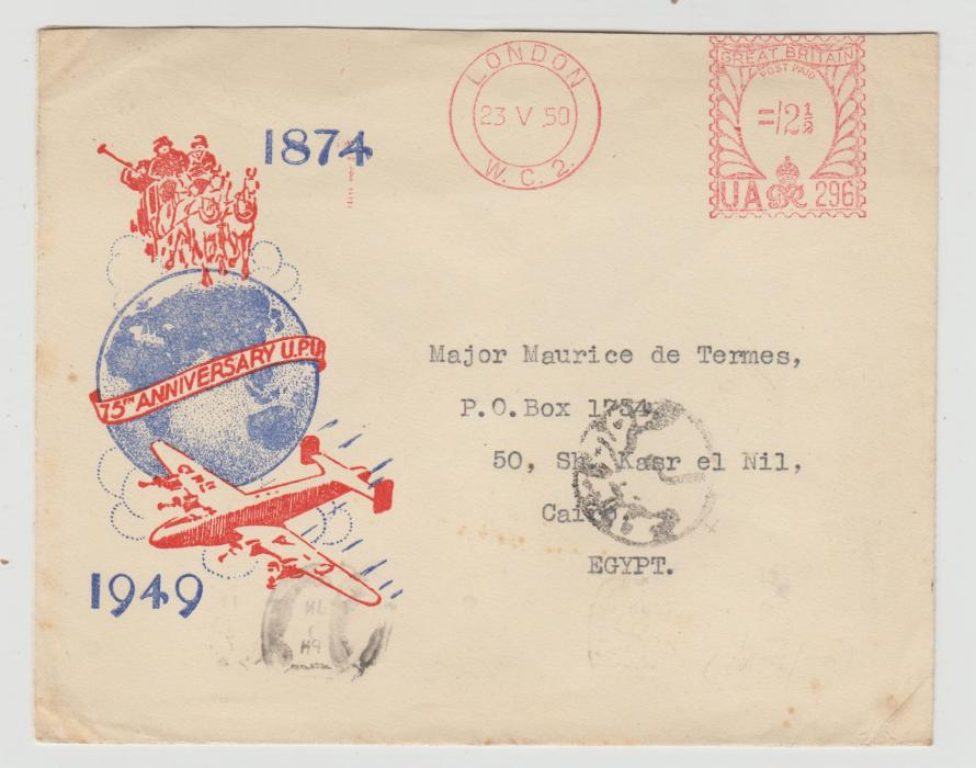 GB UPU COMMEMORATIVE ENVELOPE WITH METER MARK 1950