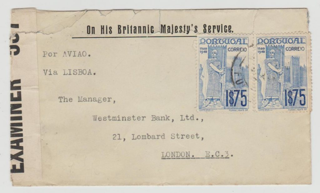 PORTUGAL OHBMS ENVELOPE TO LONDON CENSORED 1943