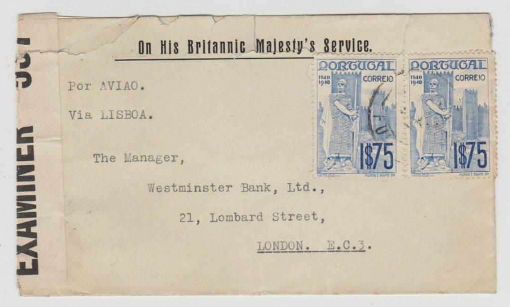PORTUGAL OHBMS ENVELOPE TO LONDON CENSORED 1943