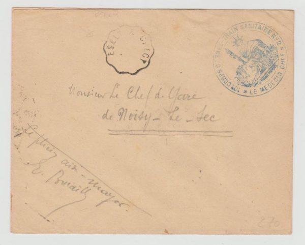 FRANCE WW1 MILITARY HOSPITAL TRAIN WITH VOID RAILWAY DATESTAMP