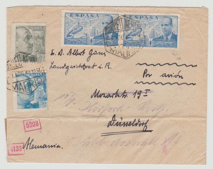 SPAIN CENSORED ENVELOPE TO GERMANY 1940