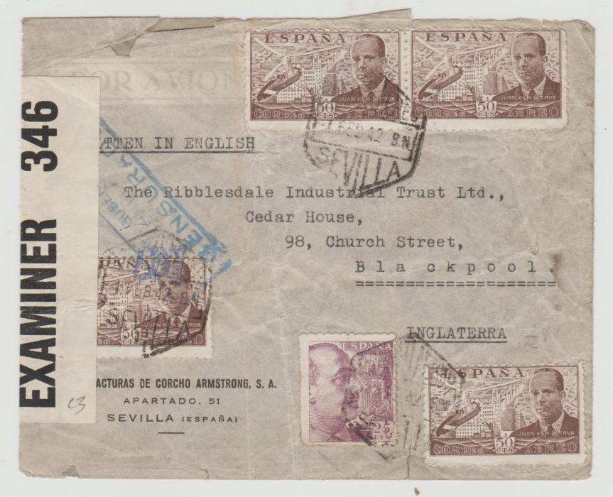 SPAIN CENSORED ENVELOPE TO ENGLAND 1942