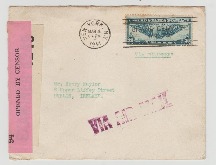 USA AIRMAIL TO DUBLIN 1941