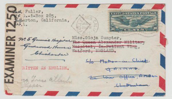US AIRMAIL TO CHELTENHAM CENSORED & FORWARDED VIA THREE HOSPITALS 1942