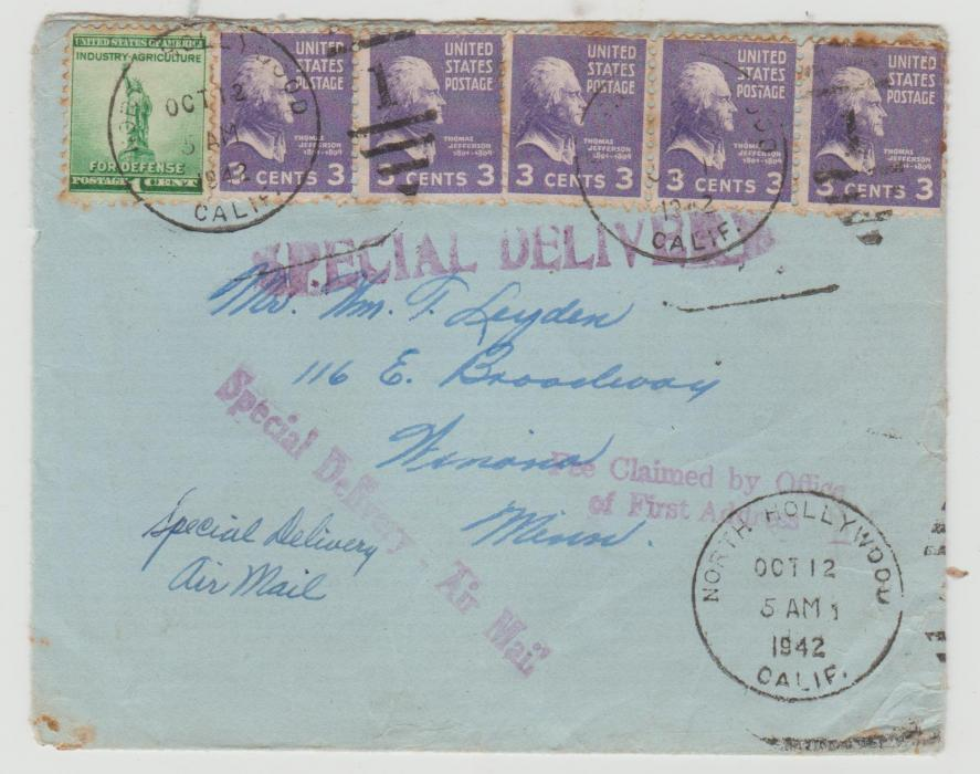 USA SPECIAL DELIVERY ENVELOPE 1942