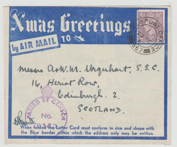 Christmas Airgraph from Middle East 1943