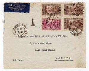 ALGERIA: 1938 UNDERPAID AIRMAIL COVER TO SWITZERLAND.