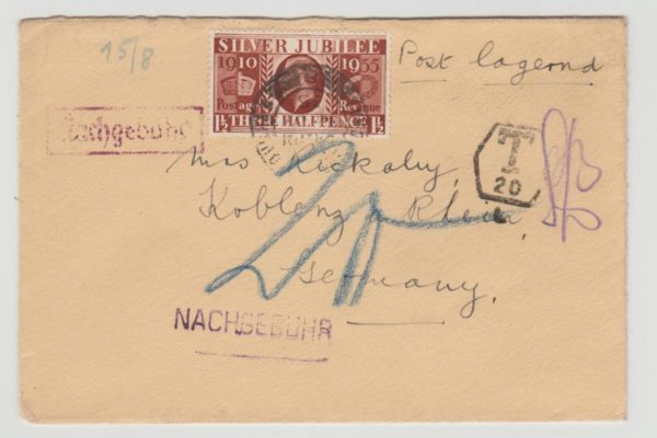 GB 1½d SILVER JUBILEE UNDERFRANKED TO GERMANY 1935