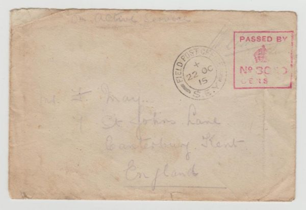 ON ACTIVE SERVICE COVER FROM THE DARDANELLES 1915 FPO S.E.Y.