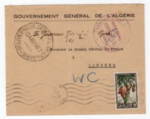 ALGERIA: 1950 GOUVERNEMENT GENERAL DE L'ALGERIE COVER TO FRENCH CONSUL IN LONDON.