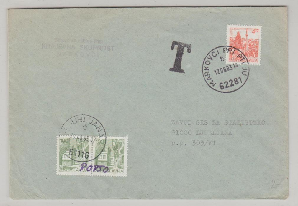 JUGOSLAVIA POSTAGE DUE COVER 1983