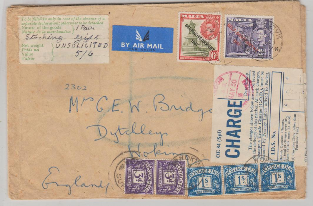 ENVELOPE FROM MALTA SUBJECT TO CUSTOMS CHARGE BY POSTAGE DUES 1950