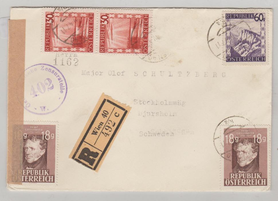 AUSTRIA CENSORED ENVELOPE TO SWEDEN APRIL 1947