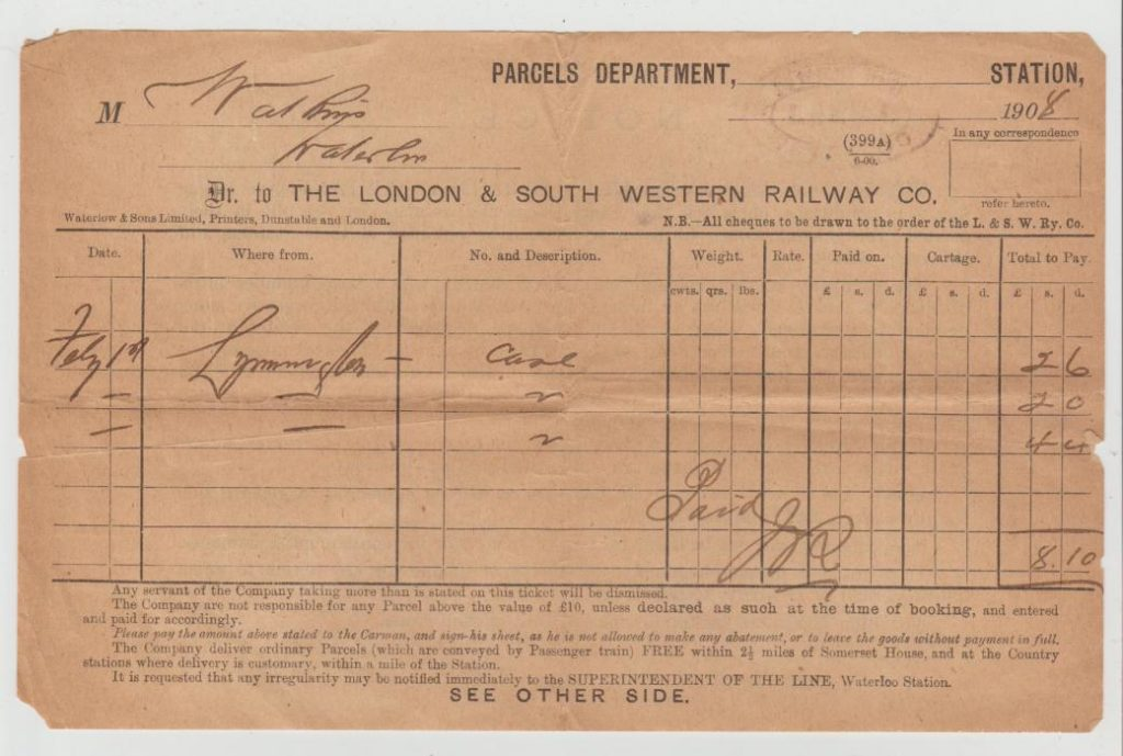 GB RAILWAY PARCELS DOCUMENT 1908
