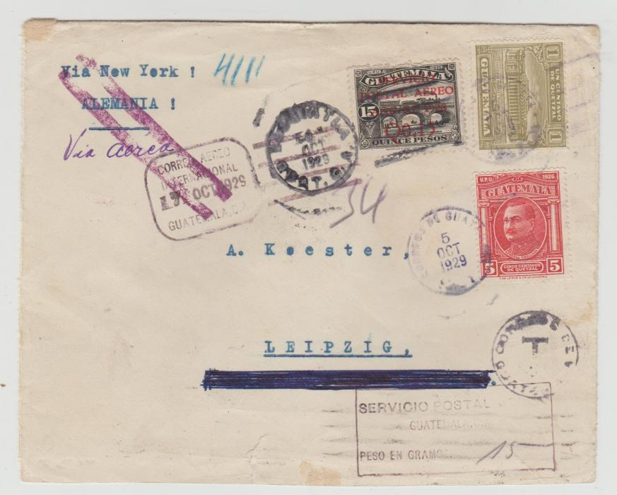 GUATEMALA TO LEIPZIG INSUFFICIENTLY PAID FOR AIRMAIL 1929