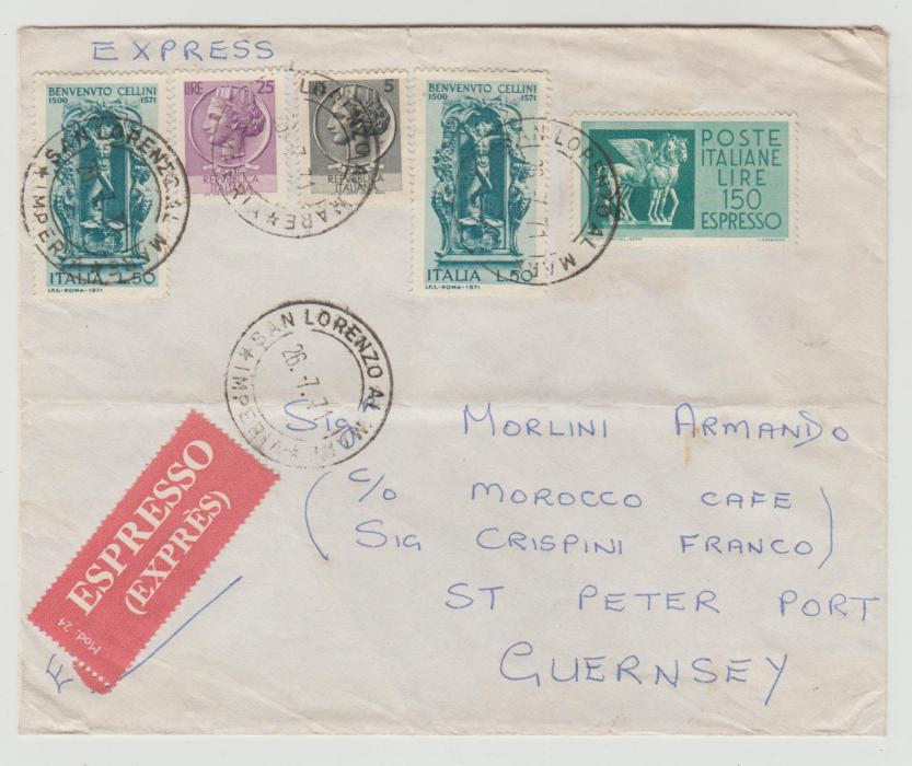 ITALY LETTER BY EXPRESS TO THE CHANNEL ISLES 1971