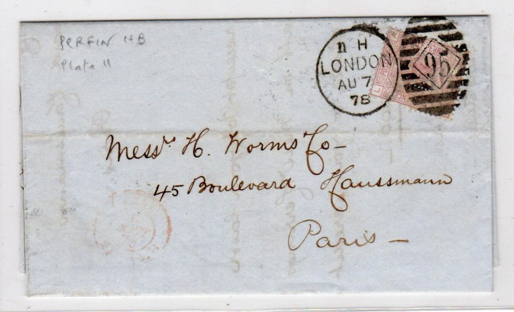 "GB-LONDON: 1878 ENTIRE TO FRANCE WITH ""HB"" PERFIN."