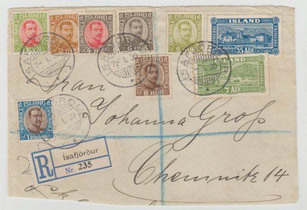 ICELAND REGISTERED FRONT TO CHEMNITZ 1930