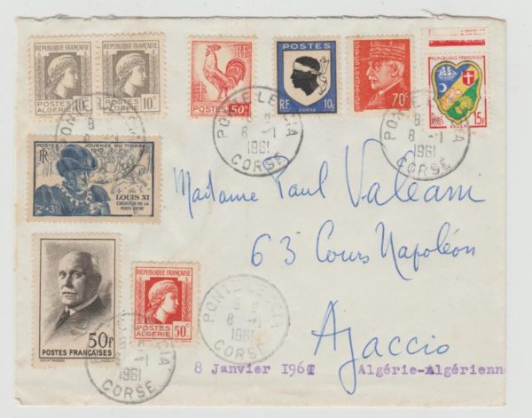 CORSICA MIXED USE OF FRENCH & ALGERIAN STAMPS 1961