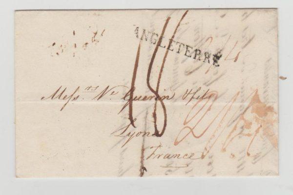 GB ENTIRE LONDON TO LYON VIA FORWARDING AGENT 1817