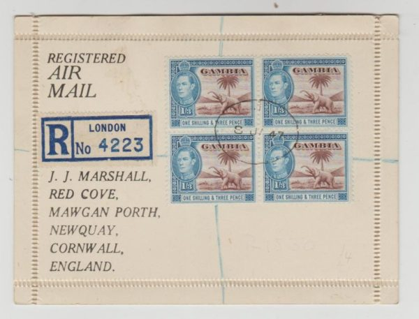 GAMBIA BLOCK OF 4 KGVI 1/3 ON REGISTERED LETTER CARD 1947
