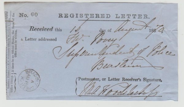 GB REGISTERED LETTER RECEIPT 1870