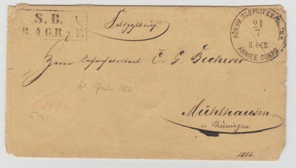 GERMAN FIELDPOST LETTER FROM THE AUSTRO-GERMAN WAR 1866