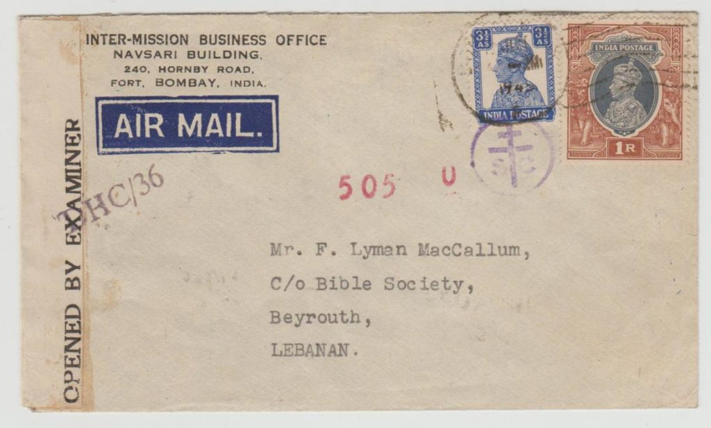 INDIA CENSORED AIRMAIL TO BEYROUTH 1945