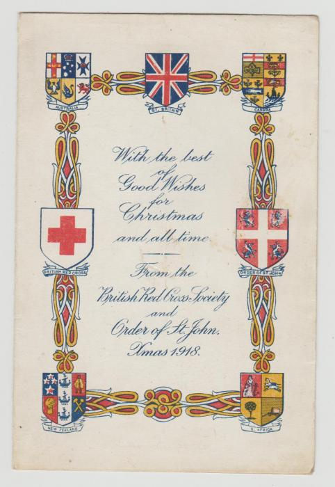 RED CROSS CHRISTMAS CARD 1918