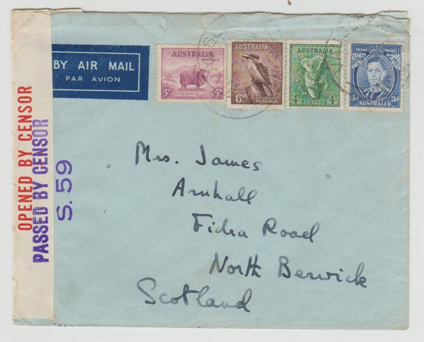 AUSTRALIA CENSORED AIRMAIL TO SCOTLAND 1940