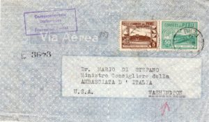 PERU: 1946 REGISTERED AIRMAIL COVER FROM ITALIAN EMBASSY IN PERU.