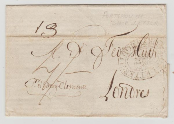 GB PORTSMOUTH SHIP LETTER FROM PORTUGAL 1813
